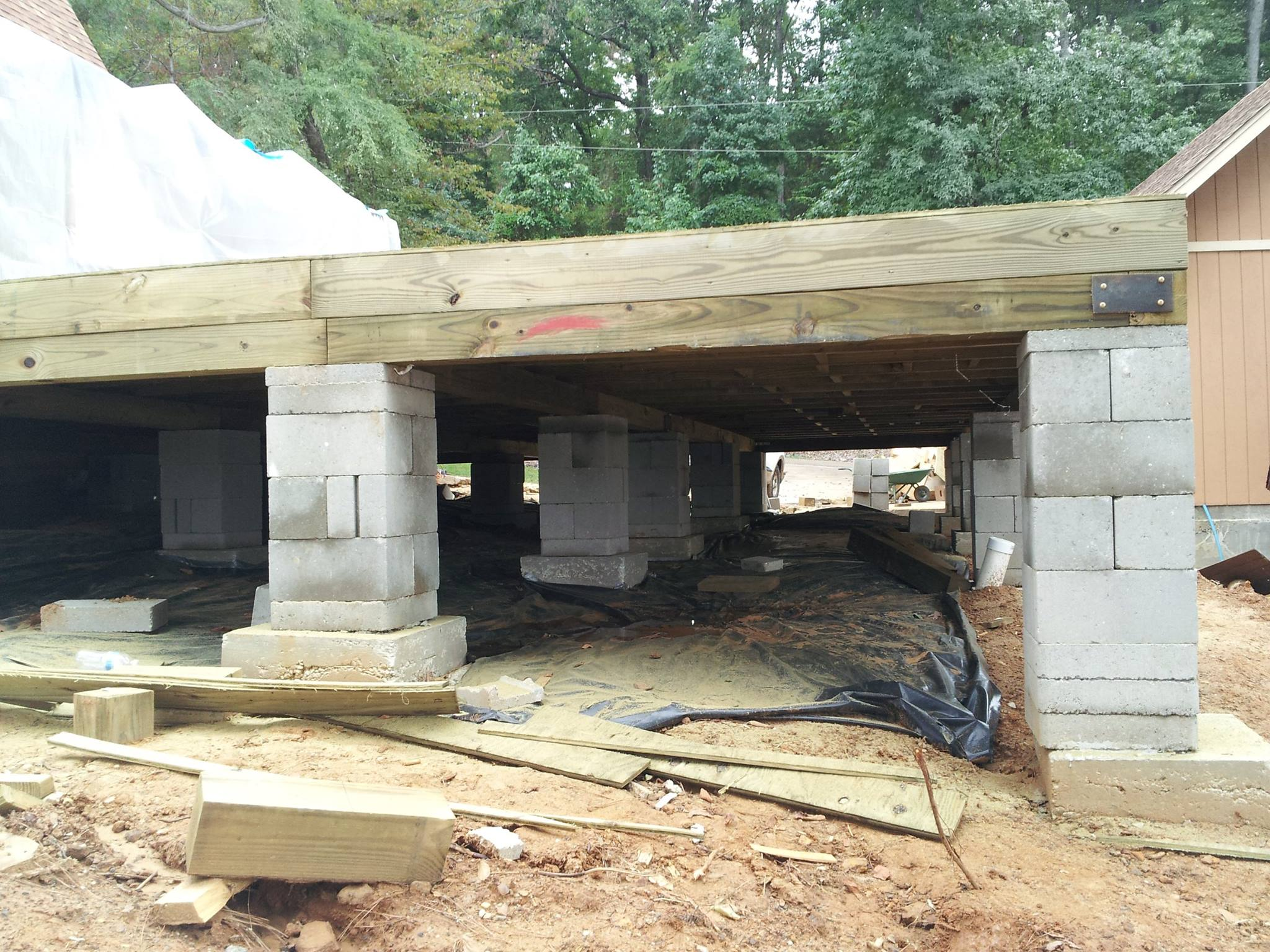 crawlspace pier and beam foundation repair house